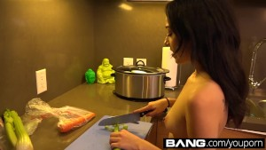 Teen Kiley Jay Cooking Naked with A Creampie Dessert