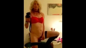 blond big hair nude tranny in red bra.mp4