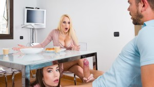 VIRTUAL TABOO - Almost Caught Sucking Brothers Cock Under the Table