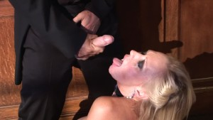 Priest sprays holy jizz all over this milf's face