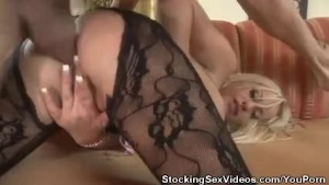 Analed Stocking Clad Babe Savannah Gold