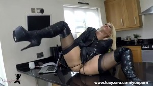 Blonde Milf slut Lucy Zara big boobs masturbates in black panties leather gloves and thigh high boots