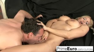 Big boobed blonde Anabella fucks herself before sucking cock