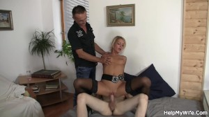 Old husband watches his wife rides friend's cock