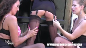 Lesbian Milf sluts smoke tease lick masturbate in sexy nylon stockings lingerie and high heels