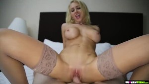 POV Blonde Teen with Big Tits gets a load