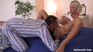 Granpa seduces son's blonde gf into cock riding