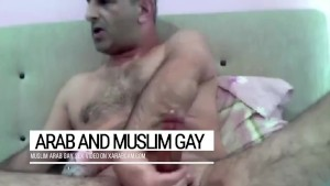 Cum splashes on a furry body. Arab gay Libyan's dick is a fountain of manhood