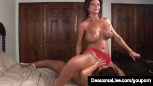 Busty Milf Deauxma Squirts in Magdelaine St.Michaels' Mouth!