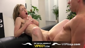 Vipissy - Blonde babe tries piss drinking in horny hardcore pissing video
