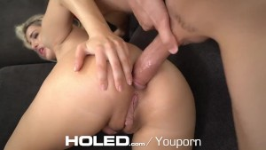 HOLED Anal injection into tight blonde Mila Marx round booty with creampie