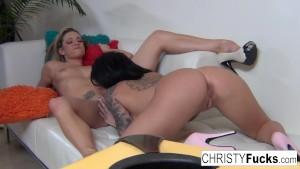 Christy and Dahlia on the set