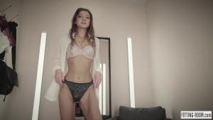 Horny secretary Melena Maria fucks her ass in a lingerie fitting room