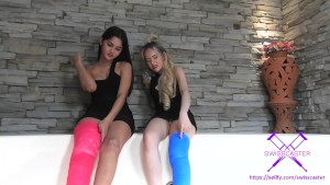 Fetisch-Concept.com - 2 girls with long cast legs in jacuzzi