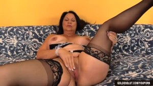Mature Brunette Leylani Wood Rubs Her Pussy and Fucks a Guy