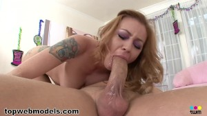 Petite redhead with big tits deepthroats a thick cock