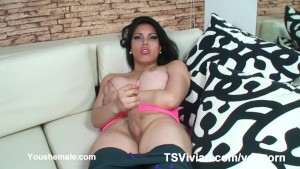 Hung tranny Vivian Black after a workout