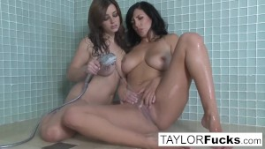 Big titty lesbians take a shower together