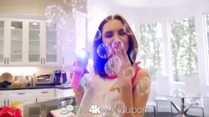 TINY4K Bubble blowing teen POKED with big dick