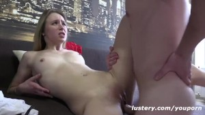 Blonde Masurbates to get her Man Hard, then they Fuck