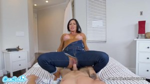 Mom rides stepson and begs for creampie