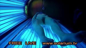 Blonde Teen in Public Tanning Salon with Reallifecam filmed.Real Hidden Webcam under tanning Bed