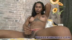 Indian transsexual beauty Indiazinha loves to tease her cock alone