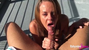 Rahyndee James Brunette Babe Blowjob And Bent Over Balcony Fucking