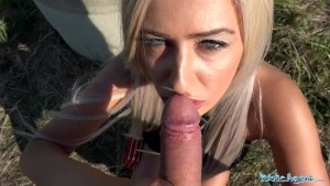Public Agent Sweet shaven Romanian pussy gets creampied after hard fucking