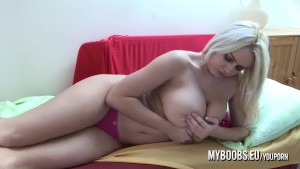 Busty Messalina morning in bed play with her huge boobs panties and nipples next masturbate with dildo