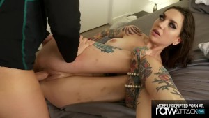 Skinny Sexy Tattoo Girl gets Fucked by a Huge Cock, Rocky Emerson BTS