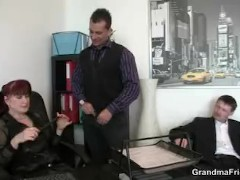 Mature office woman pleases...