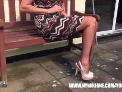 Milf Nylon Jane walking...