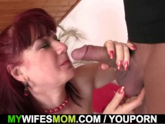 brunette mom-in-law in stockings riding after toying
