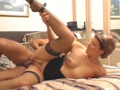 cute short haired Muscovite takes it in her ass