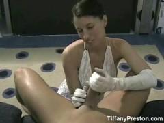 White satin glove handjob-TiffanyPreston