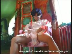 Sweet manga girl Monika getting flexible