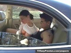 Tiffany Preston get caught fucking on car