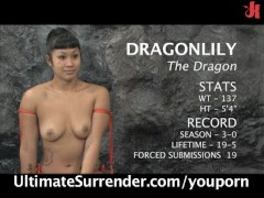 Dragon vs. Slayer in a nude wrestling action!