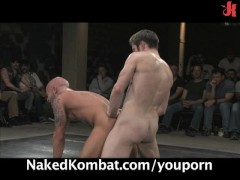 Hot studs wrestle for the live audience!