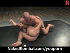 Dangerously hot nude oil-wrestling match
