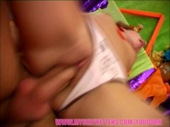 Young cute redhead gets her tight pussy filled up