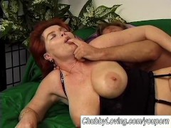 Busty old ginger fatty fucked