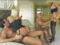 Two couples play together and cum together