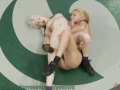 Big Breasted Blond kicks Tiny Blond Girl's Ass