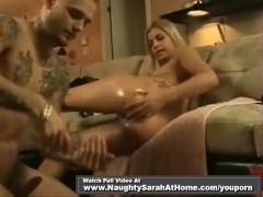 Sarah wet oily footjob and anal
