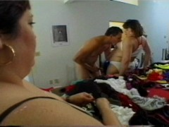 Big women try on different lingerie before their men cum