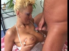 Hot blonde with big tits gets paid after she gets laid