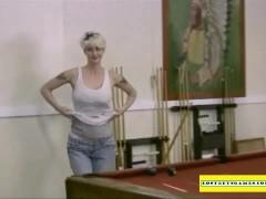 Amateur girls playing strip pool