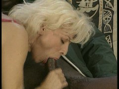 : Blonde maid blows black cock